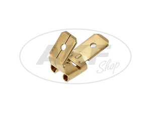 Item Image Flat plug with branching Plug-in width: 6.3 mm Plug-in connections: 0.8 mm