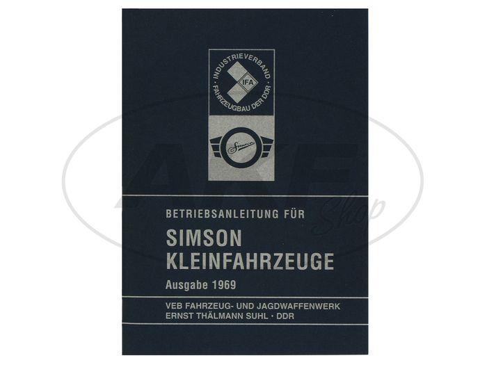 Betriebsanleitung für Simson Kleinfahrzeuge - Ausgabe 1969 mit 16 Bildern - Bild #1