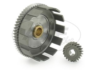 Item Image Set: clutch basket with collar bushing (lubrication grooves) + drive pinion, 62/21 tooth - Simson S70, S83, SR80