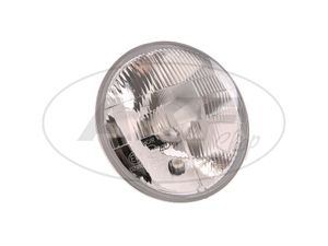 Item Image Headlamp insert 12V-H4 - 8709.15 / 2 halogen - with stand light socket - TS, ETS, ETZ, - Ø178 mm - Glass arched, low profile height - (right asymmetri