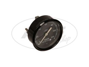 Item Image Tachometer, Ø80mm - black - 120km / h version, tachoglas arched - pass. For AWO 425T, 425S - with three-mountain logo