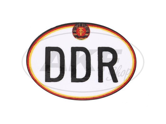 """Aufkleber - """"DDR"""" klein, mit Hammer und Zirkel, Oval - Bild #1"""