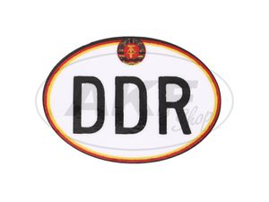 "Item Image Sticker - ""DDR"" small, with hammer and compass, oval"