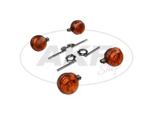 Item Image Set: 4 turn signal round complete incl. Turn signal carrier chrome - for Simson S50, S51, S70