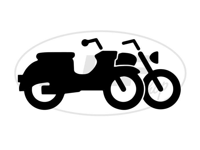 """Aufkleber - """"Moped Silhouette"""" Folienplot Schwarz, mit Übertragungsfolie - Bild #1"""