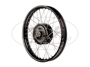 "Item Image Tuning spoked wheel 1.5 x 16 ""aluminum rim black anodised + stainless steel spokes - for Simson S51, S50, KR51 Schwalbe, SR4"