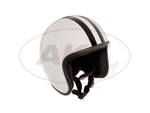 "Item Image ARC Helmet ""Model A-611"" retro look - antique white with stripes"