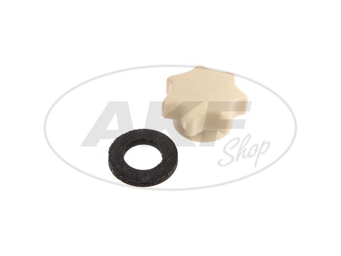 Starter nut M6, ivory, long version, with thrust washer - Simson Schwalbe KR51, Star, Sparrow, Habicht SR4 - MZ ES, TS - Image #1