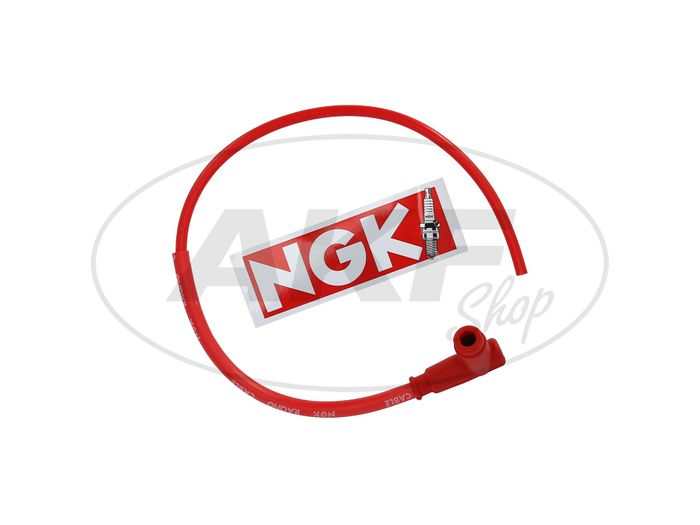 Set: NGK SPORT racing cable with cable in red - Simson S50, S51, KR51 Schwalbe and others - MZ ES, TS, ETS, ETZ - Image #1