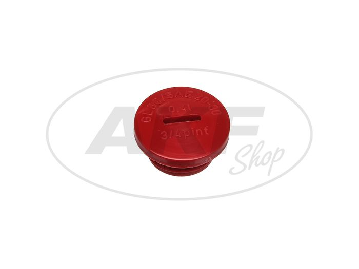 Screw plug in red (oil filling opening), original without O-ring - Image #1