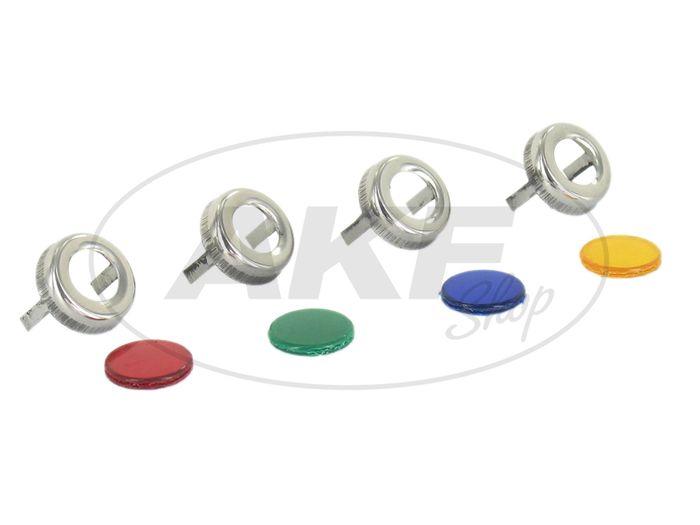Kontrollleuchtensatz komplett (4 x Zierring Edelstahl, 4 x Farbglas) - für IWL SR59 Berlin - Bild #1