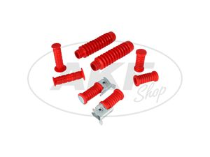 Item Image Set: handlebar grips + footpegs + bellows in red - for Simson S50, S51, S70, S53, S83