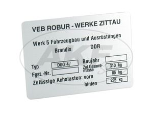 Item Image Vehicle identification plate suitably for duo 4/again (aluminum)