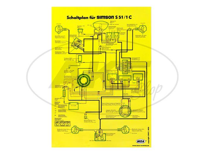 Schaltplan Farbposter (40x60cm) Simson S51/1C