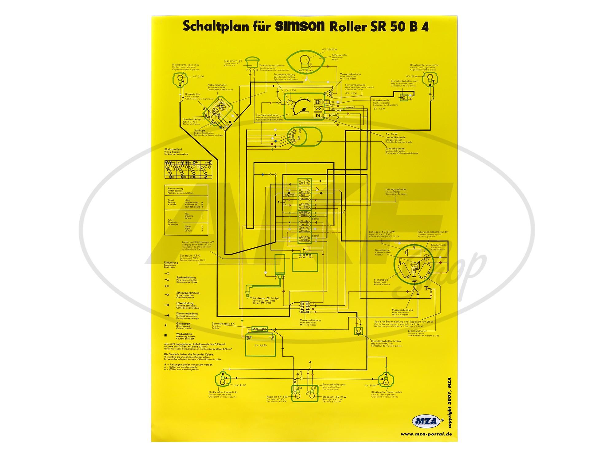 schaltplan farbposter 40x60cm simson sr50 b4 6v. Black Bedroom Furniture Sets. Home Design Ideas