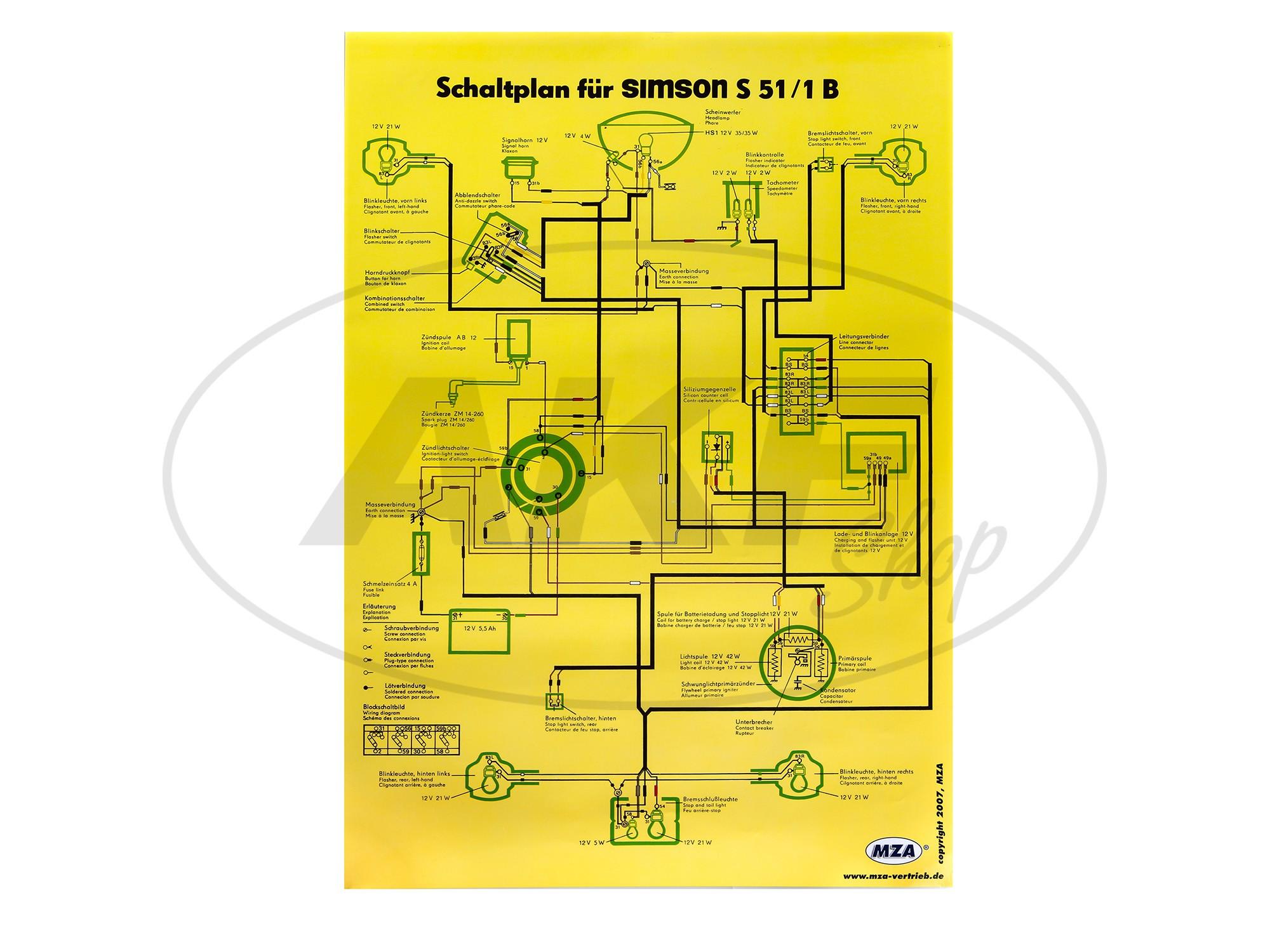 schaltplan farbposter 40x60cm simson s51 1b 12v. Black Bedroom Furniture Sets. Home Design Ideas