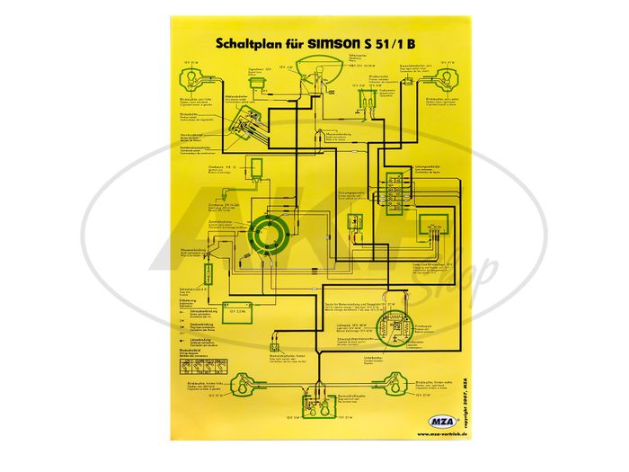 Schaltplan Farbposter (40x60cm) Simson S51/1B 12V - Bild #1