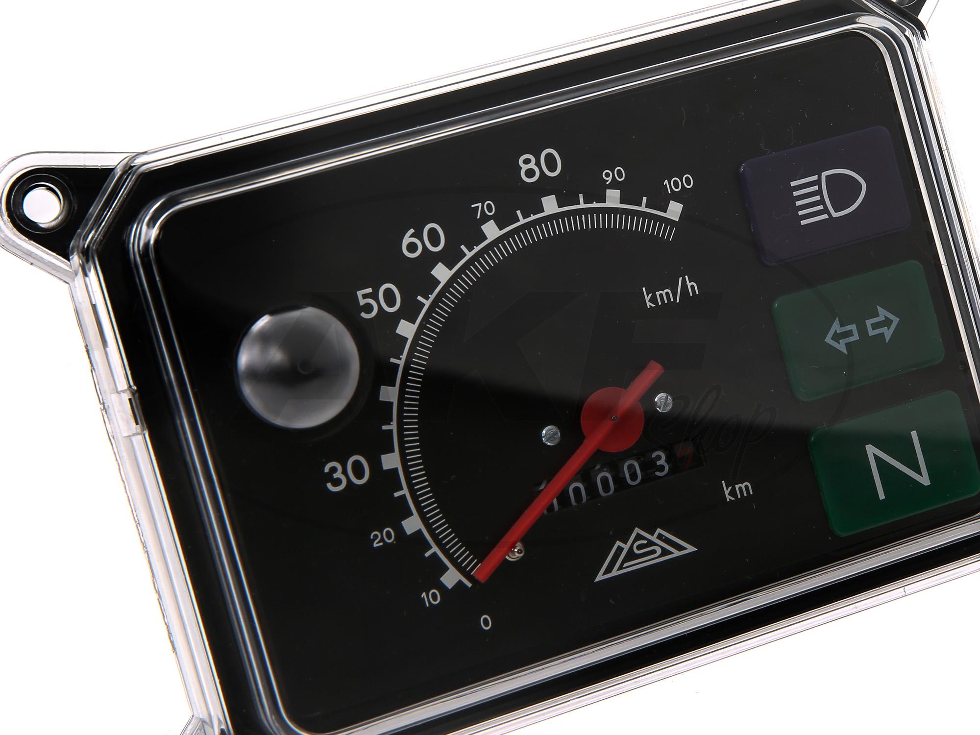 tachometer komplett mit beleuchtung 12v 100 km h f r. Black Bedroom Furniture Sets. Home Design Ideas