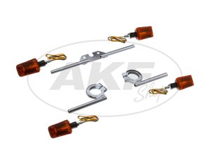 Set: 4 Mini-Blinker 12V 20W in Schwarz mit Chromträgern - für Simson S50, S51, S70, S53, S83, SR50, SR80 -  Bild 1