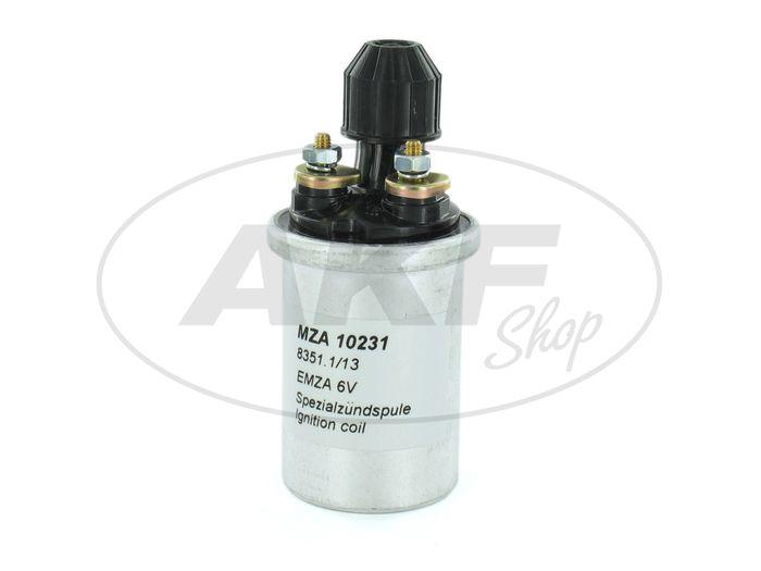 Ignition coil 6V, 8351.1 / 13, EMZA, electronics, short - Simson S50, S51, S70, S53, S83, KR51 / 2 Schwalbe, SR50, SR80 - Image #1