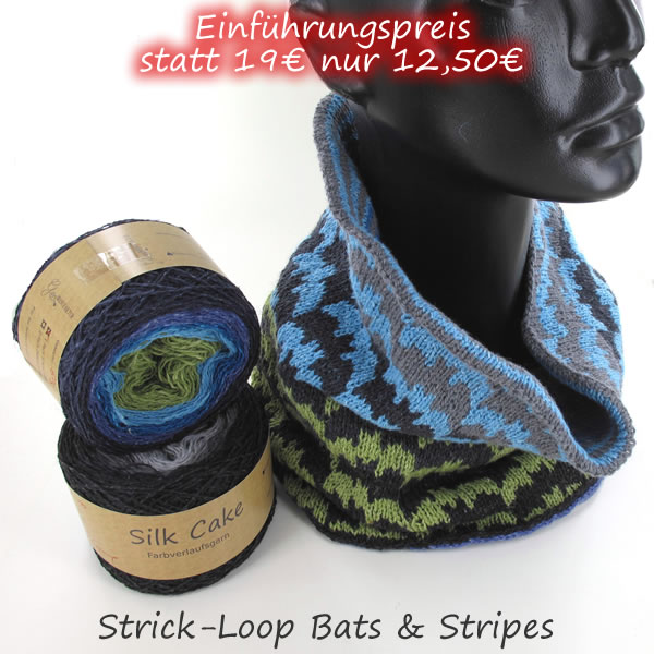 StrickSet inkl. PDF-Strickanleitung Silk Cake Loop Bats & Stripes