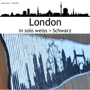 StrickSet inkl. PDF-Strickanleitung LoLa 8fach Illusionsstricken Schal myCity Skyline