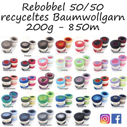 BOBBEL im Farbverlauf 50/50 recyceltes Baumwollgarn 200g