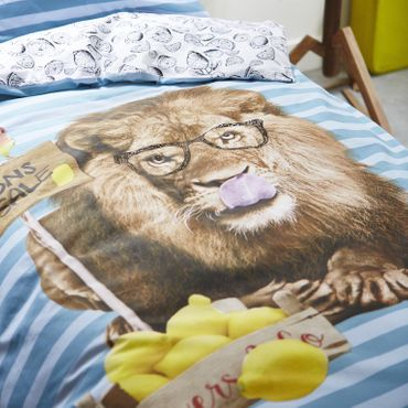 Covers&Co Renforcé Bettwäsche Lemon Lion blue – Bild 4
