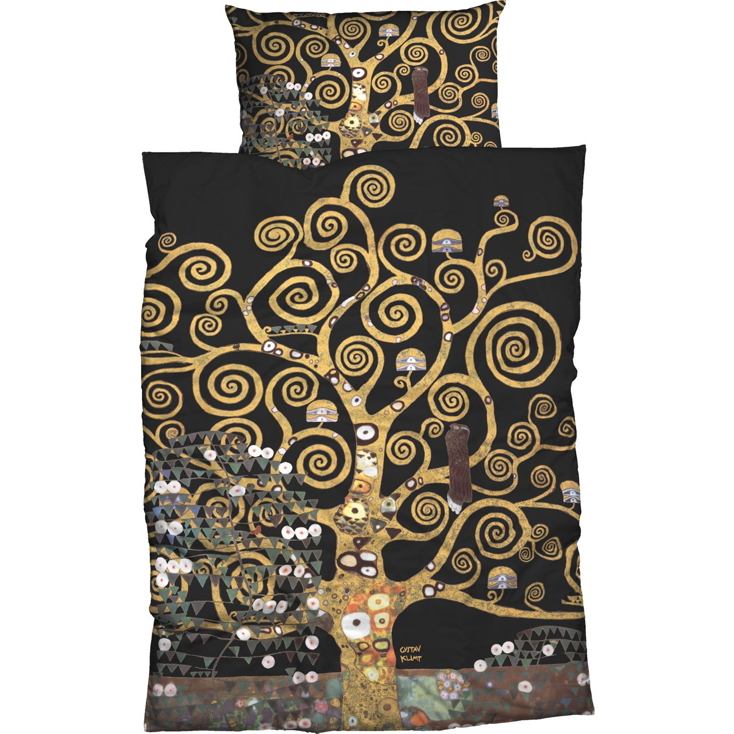 gustav klimt bettw sche lebensbaum schwarz gold satin. Black Bedroom Furniture Sets. Home Design Ideas
