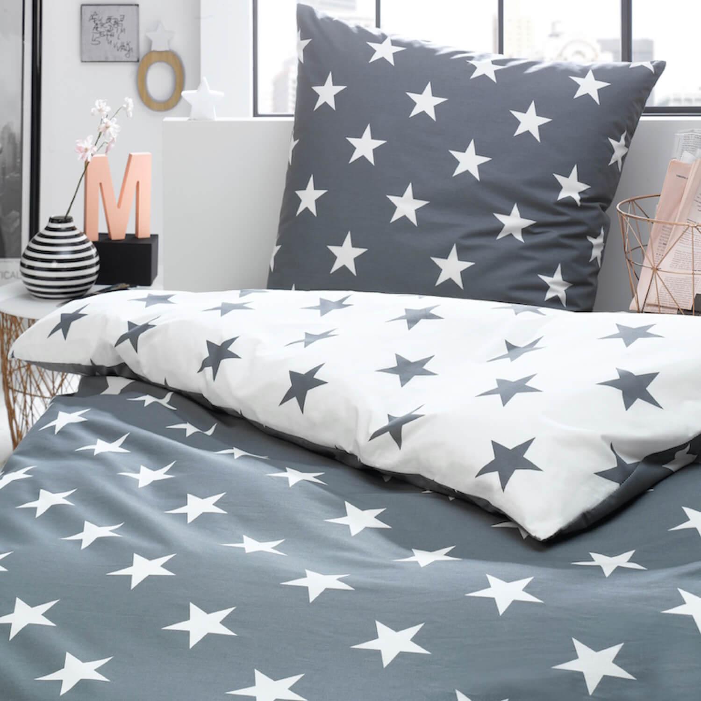Trend Bettwäsche Sterne Grau Perkal