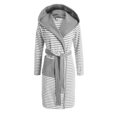 ESPRIT Bademantel Striped Grey mit Kapuze – Bild 1