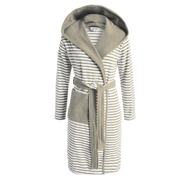 ESPRIT Bademantel Striped Mocca mit Kapuze