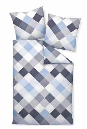 Janine Bettwäsche moments 98010 08 opalgrau blau Mako Satin – Bild 1