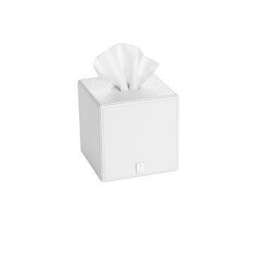 JOOP! Bathline Papiertuchbox quadratisch Lederoptik weiß