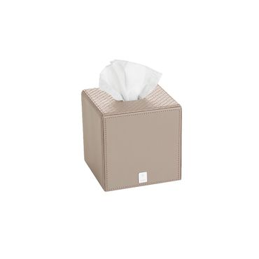 JOOP! Bathline Papiertuchbox quadratisch Lederoptik grau