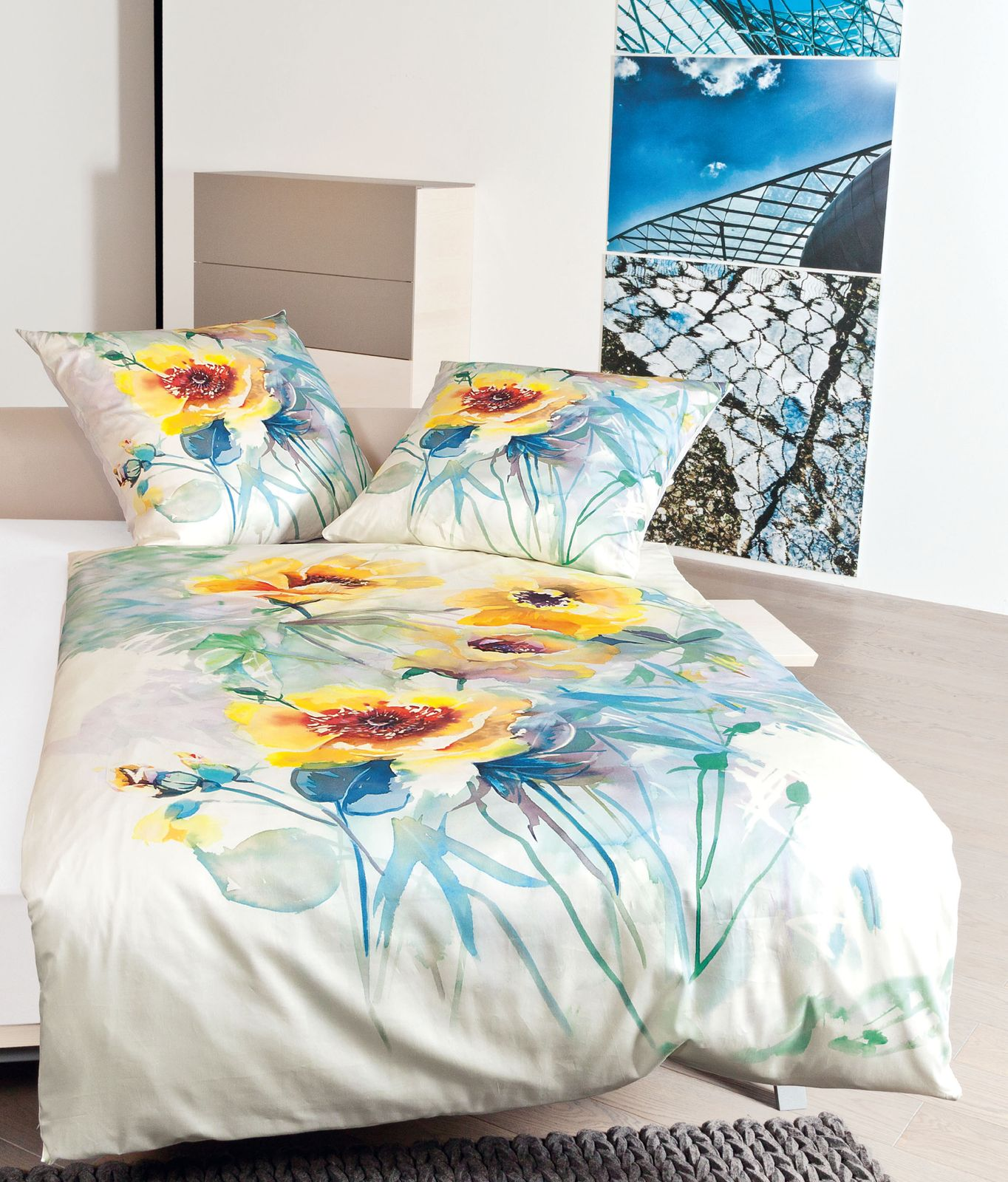 Janine Bettwäsche modern art 4131 bunt Streifen gestreift Batik glatt Mako Satin