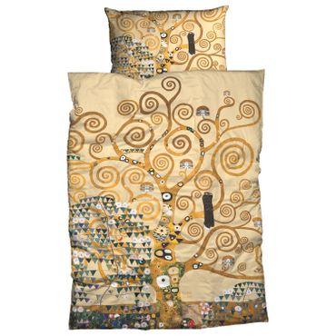 Gustav Klimt Bettwäsche Lebensbaum Beige Gold Satin