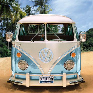Volkswagen Strandlaken VW Bulli T1 blau 75x150 cm – Bild 2