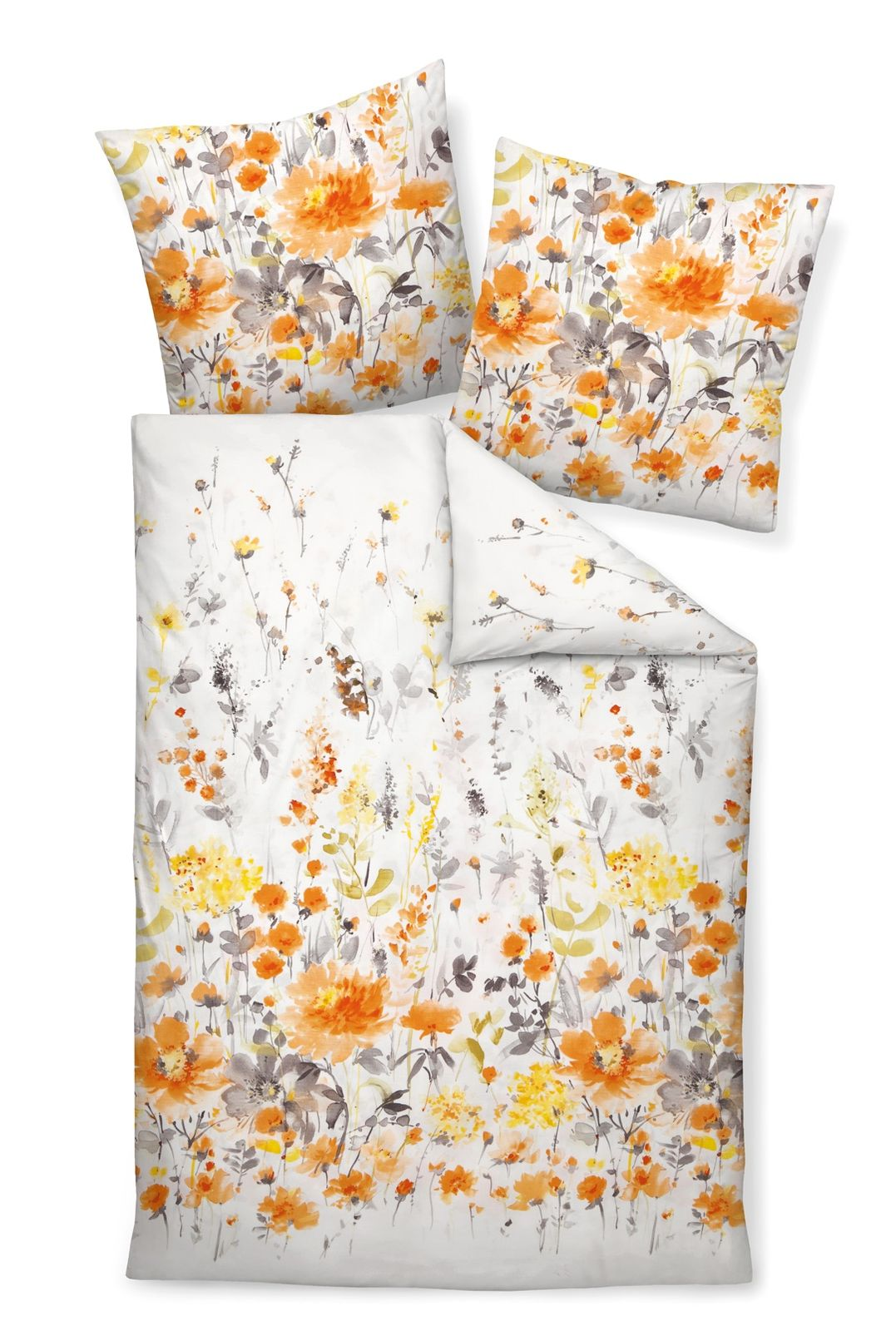 Janine Bettwäsche Moments 98021 04 Orange Gelb Grau Mako Satin