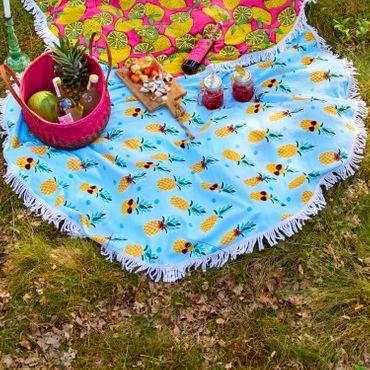 Covers & Co Strandlaken Strandtuch Hamam Pineapple Aqua Rund 150cm – Bild 2