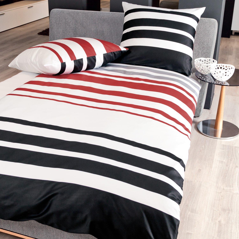 janine bettw sche j d 87028 01 rot schwarz platin mako satin. Black Bedroom Furniture Sets. Home Design Ideas