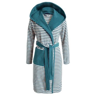 ESPRIT Bademantel Striped Aqua mit Kapuze