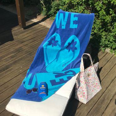 Dreams Jacquard Strandlaken Flip Flops Blau 90x180 cm – Bild 3