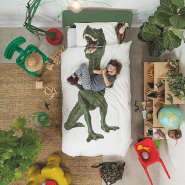 Snurk Bettwäsche Dino Green Perkal – Bild 3