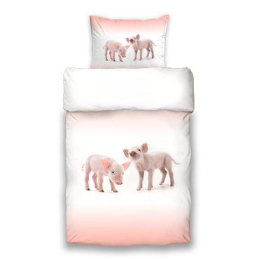 Schwanberg Bettwäsche Piggy Weiß Rosa Renforcé – Bild 1