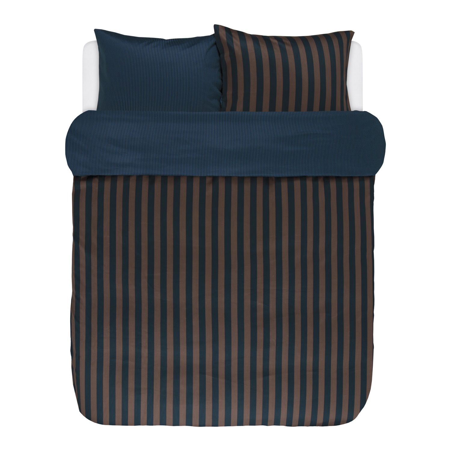 marc o 39 polo bettw sche classic stripe marine earth brown satin. Black Bedroom Furniture Sets. Home Design Ideas