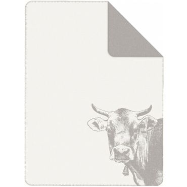 Ibena Jacquard Kuscheldecke 2421 800 Servus Wollweiß Grau 150x200 cm – Bild 1