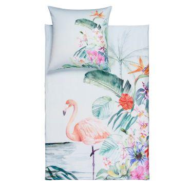 Estella Bettwäsche Flamingo 4728 575 lagune Mako Satin – Bild 1