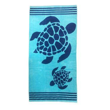 Dreams Jacquard Strandlaken Turtle Blau 90x180 cm – Bild 1