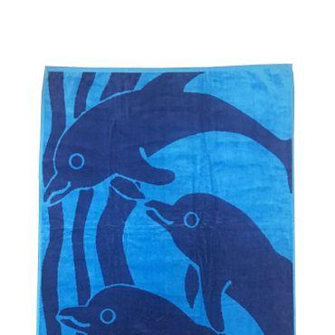 Dreams Jacquard Strandlaken Dolphin Blau 90x180 cm – Bild 2